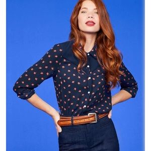 ModCloth floral western snap up shirt blouse CUTE